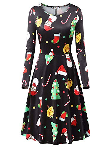 KIRA Christmas Dress with Sleeves, Womens Long Sleeve Santa Claus Printed Gifts Ugly Party Flared Dress