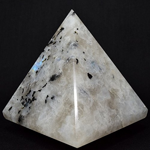 High Quality Natural Rainbow Moonstone Pyramid with Black Tourmaline Chakra Energy Generator Reiki Stone Approx. 1.5