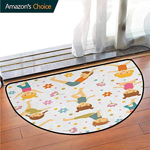 Price comparison product image DESPKONMATS Home Decor Rug,  Cartoon Style Exercising Kids with Colorful Daisies Healthy Active Children Stretching,  for Living Room & Bedroom,  W39.4 x R23.6 Inches Multicolor