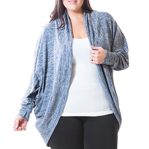 [71303XR-BLU-1X] Women's Plus Size Cocoon Cardigan Long Sleeve Brushed Knit Wrap