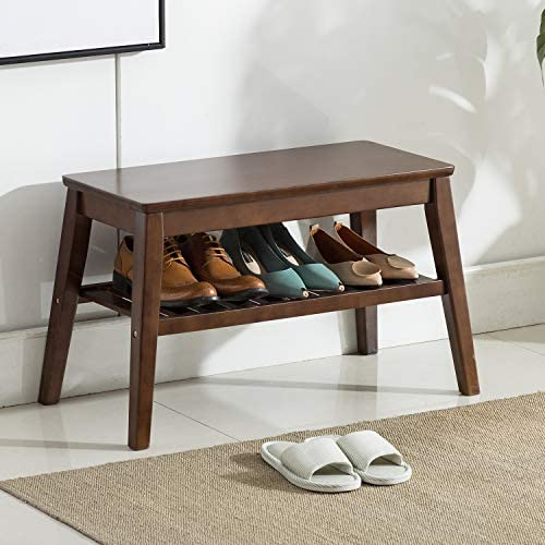 Shoes Rack Bench NNEWVANTE Free Standing Wearing Shoes Bench Storage Shelf Side End Table