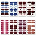 WOKOTO 8Pcs Full Sheets Nail Art Polish Stickers For Nails Manicure Full Wraps Decals Nail Art Easy Nail Art Wraps With Nail Files For Women