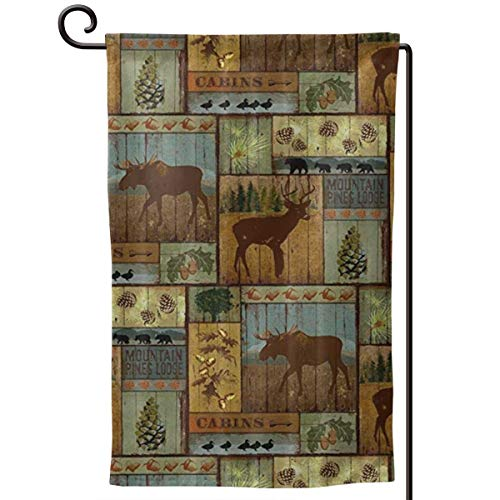 Private Bath Customiz Nature Rustic Mountain Pines Lodge Bear Garden Flags Yard Holiday Seasonal Garden Outdoor Decorative Flag Double Sided 12.5 X 18 in -