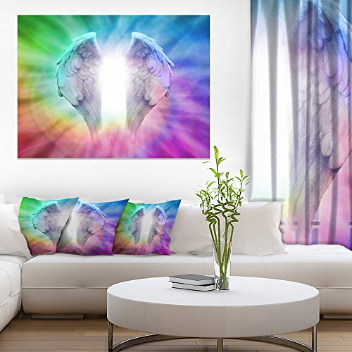Angel Wings on Rainbow Background Abstract Canvas Art