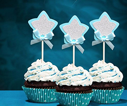 21-pac Blue and Silver Star Cupcake Toppers Picks, Glitter Star Cake Toppers, Baby Boys Shower Birthday Party Wedding Cake Decoration Supplies Birthday Boy Cupcake