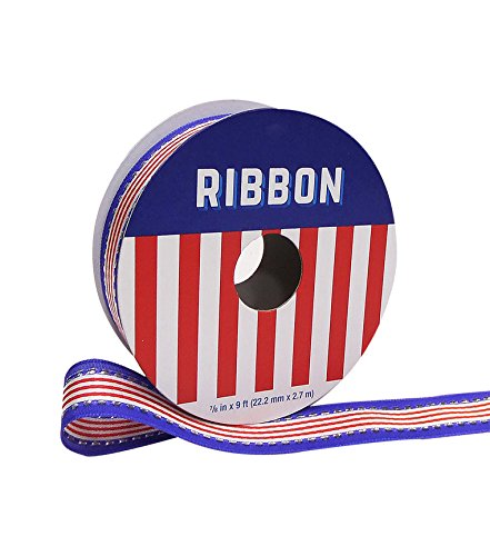 Americana Patriotic Ribbon 0.88'' x 9' Red & White Stripe with Blue - American Ribbon