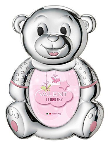Silver Touch USA .925 Sterling Picture Frame Bear, Pink