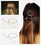 ANGELANGELA 2Pc Gold Silver Small Hollow Hoop Round Metal Updo Set Geometric Pierced Barrette Hair Fork Stick Slide Tuck Clip Shawl Scarf Pin Brooch Hairpin Styling Ponytail Holder Bun Maker Tool GIFT