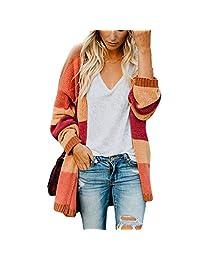 Belgius Women Lightweight Open Front Knit Sweater Rainbow Striped Loose Cardigan