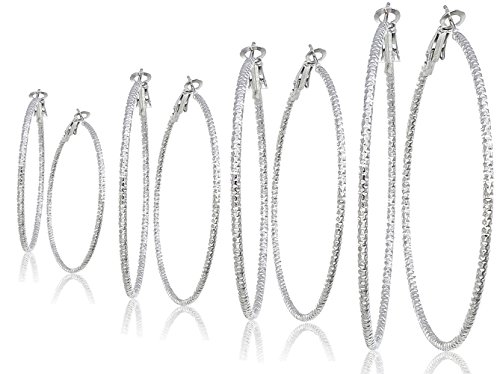 Silver And Gold Plate Hoop Earrings Set For Women Teen Jewelry Diamond Cut 3 Pairs Gold And Luster (GL4: All Silver Tone - Set of 4)