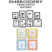 Embroidery pattern book with funny silhouette monochrome black and white cat Tooth fairy ballet modern designs cross stitch Mini fairy room decor Illustration minimalist line 9 Chickweed Lane comic