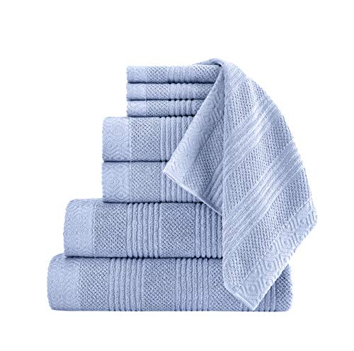 Classic Turkish Towels Luxury Bath Towel Set - Complete Bathroom Set with Large Bath Sheet Included - Made with 100% Turkish Cotton (Blue, 8 Piece Set)