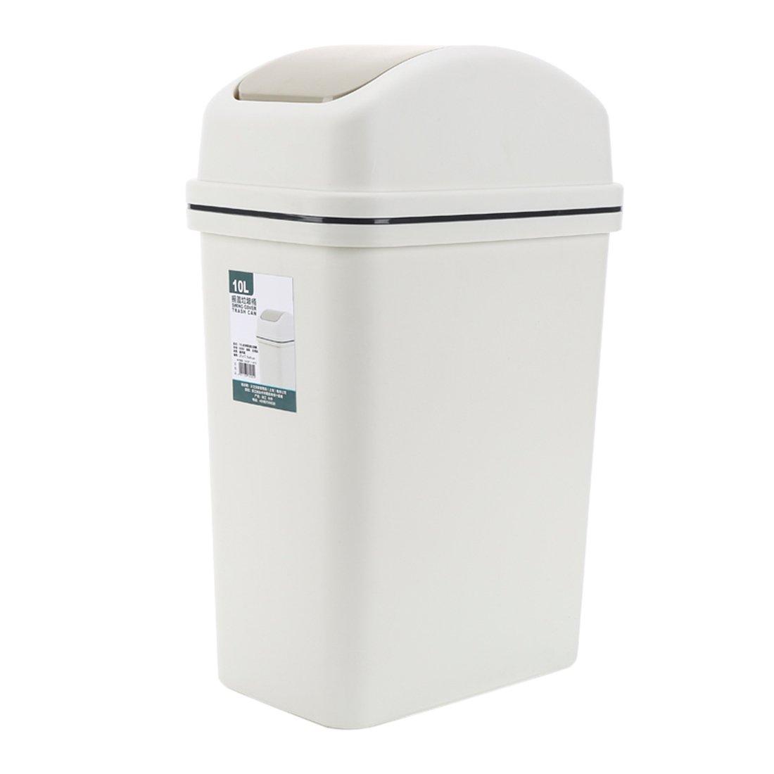 Lingxuinfo 10L Trash Can Wastebasket Waste Bin Trash Bin Waste Paper Basket Dustbin Garbage Can with Lid for Home, Kitchen, Office - Grey