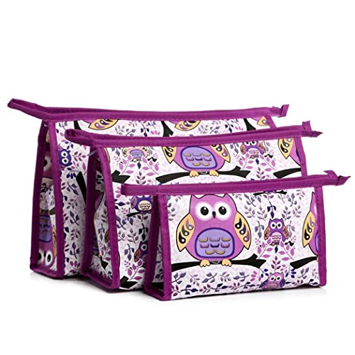 Hatop 3pcs Cosmetic Toiletry Travel Wash Makeup Bag Holder Pouch Kits Set (F) - Replica Makeup