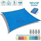 Patio Paradise 10' x 10' Blue Sun Shade Sail Square Canopy - Permeable UV Block Fabric Durable Patio Outdoor - Customized Available