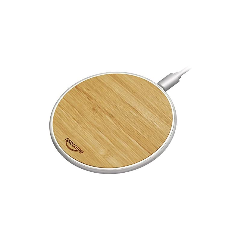 Wireless Charger, BESTHING Bamboo Qi Fast Wireless Charging Pad Compatible for Samsung Galaxy Note 8 S8 Plus S8+ S8 S7 S7 Edge Note 5 and Standard Charge Compatible for iPhone X iPhone 8 8 Plus
