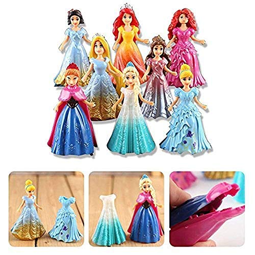 Disney Princess Dress Up Dolls - CDLLS Cute Princess Action Figures Changed Dress magiclip Dolls Kids