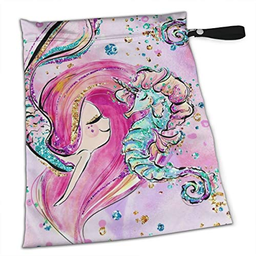 Pummbaby Cute Pink Mermaid Seahorse Dream Workout Laundry Reusable Wet Dry Separation Travel Beach Gym Tote Bags Dirty Clothes and Wet Wipe Holder for Diaper Packing Bag Pads Hanging Set