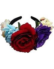 Xiangpian183 Fille mariée Rose Couronne de Fleurs, Casque de Festival de Mariage pour Enfants et Bandeau Adulte Coiffe Guirlande