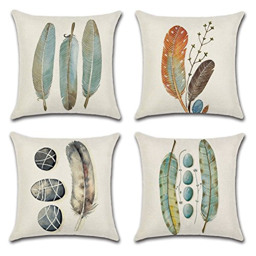 Cotton Linen Throw Pillow Case U-LOVE Feathers Print Square Cushion Cover for 18 X 18 Inch Pillow Inserts,4 pack