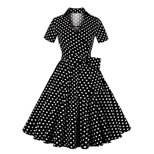 Vintage Vestiti 1950s Retro Maniche Rockabilly Hepburn Deylaying Swing Donna Corte Dot Vestito Prom Polka Risvolto Nero IYf6g7byv
