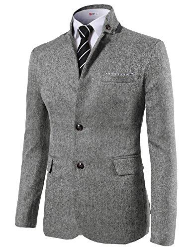[H2H Mens Casual Slim Fit Mandarin Collar Jackets Single Breasted GRAY US 2XL/Asia 3XL (KMOJA0290)] (Gray Blazer Jacket)