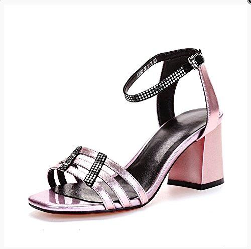 Pink de impermeables azul 36 Zapatos Tacones mujeres verano sandalias Las zaqTwZB