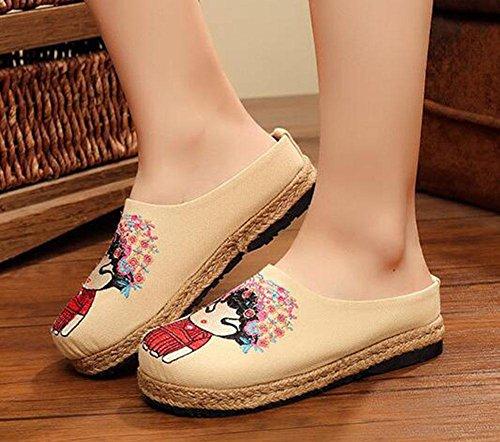 de retro con KUKI Zapatos de la alrededor casuales femeninos 2 áspero étnico estilo nupciales cabeza zapatos qvq04wOx
