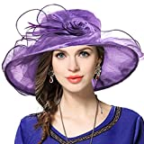Women Satin Organza Church Royal Ascot Derby Kentucky Wedding Party Hat Violet - Best Reviews Guide