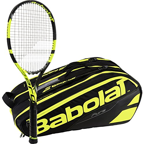 Babolat Pure Aero Yellow/Black Adult Tennis Racquet (Grip Size 4 1/4) with a Yellow/Black Pure Line Racket Holder x12