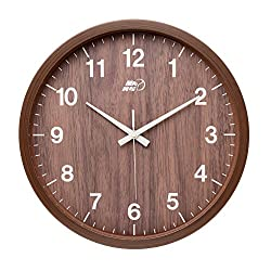 Maytime Indoor/Outdoor Faux Wooden Frame Simple Modern Silent Sweep Movement Round Wall Clock for Office Dinning Room 12 Inches Brown