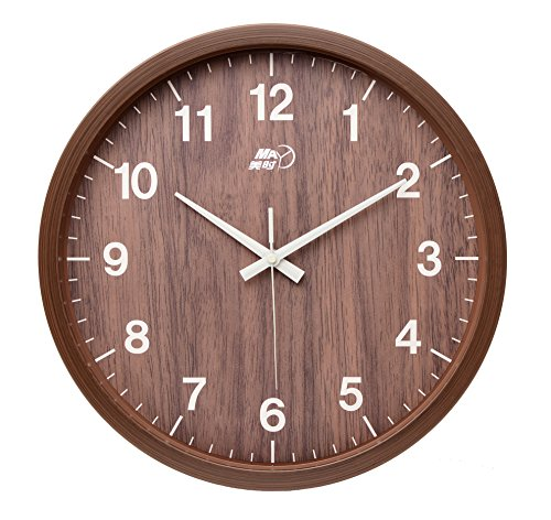 Maytime Indoor/Outdoor Faux Wooden Frame Simple Modern Silent Sweep Movement Round Wall Clock for Office Dinning Room 12 Inches - Clock Shelf Ansonia