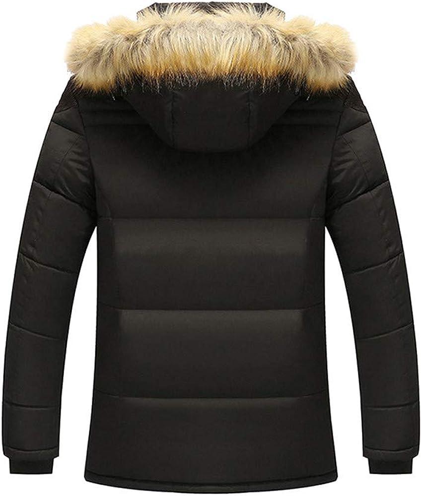 ChallengE Homme Hiver Manteau Doudoune à Capuche, Chapeau détachable Fermeture éclair Manches Longues Chaud Manteau de Coton Blazers Blouson Noir