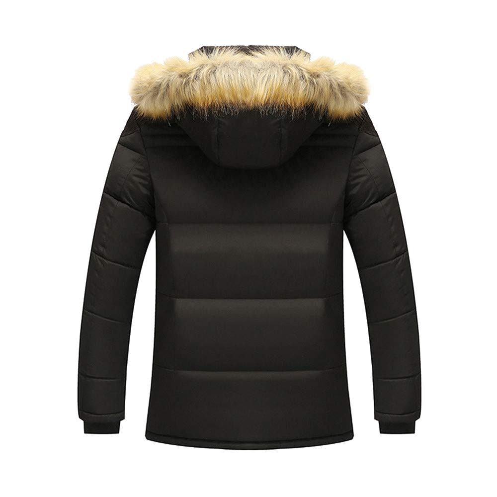 Sumen Winter Clothing Mens Thicken Warm Faux Fur Hood Down Jackets Parka Coats