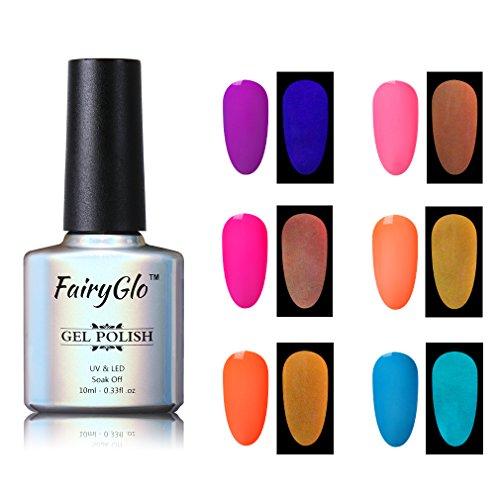 Nail Polish UV LED Glow in the Dark Dramatic Nail Art Soak Off Varnish Gift Set Carnival Party 6pcs 10ml FairyGlo 001