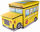 School Bus Collapsible Toy Storage Box and Closet Organizer with Storage Hood for Kids by Clever Creations