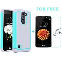 LG Tribute 5 Case, LG K7 Case, Asstar Hybrid Dual Layer Defender Protective Shock Absorbing Rugged Cover Skin Shell Case Cover for LG Tribute 5 / LG K7. Bundle with Tempered Glass (MINT)