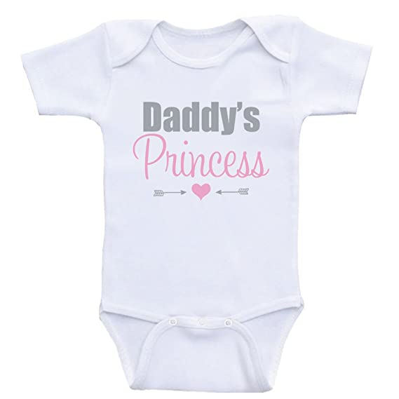 4aa9df850 Amazon.com: Heart Co Designs Baby Girl Clothes Daddy's Princess Sweet  Onesies for Baby Girls: Clothing