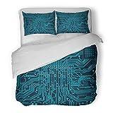 SanChic Duvet Cover Set Machine High Tech Circuit Board Microchip Decorative Bedding Set with 2 Pillow Shams Full/Queen Size