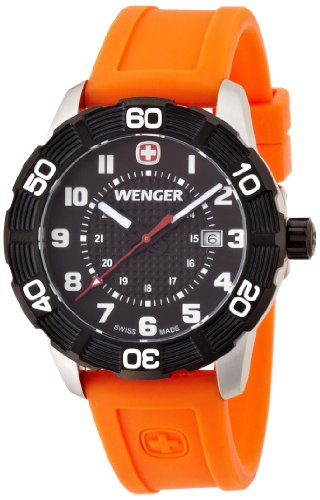 Wenger Roadster Men's Quartz Watch with Black Dial Analogue Display and Orange Silicone Strap 010851106