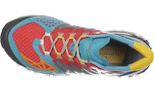 La Sportiva Bushido Woman Coral/Malibu - Deportivos de running para mujer, color azul, talla 39