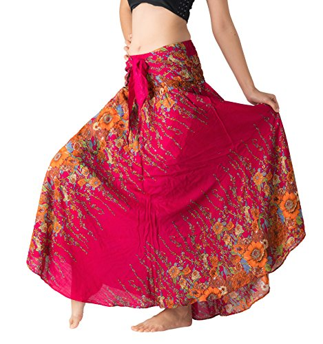 Bangkokpants Women's Long Hippie Bohemian Skirt Gypsy Dress Boho Clothes Flowers One Size Fits (Red Flowers, One Size)]()