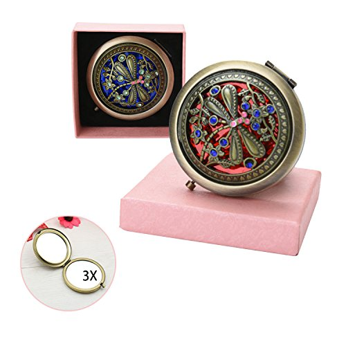 VintageBee Vintage Makeup Mirror Folding Pocket Mirror Round Compact Mirror Double-sided Hand Mirrors (A)
