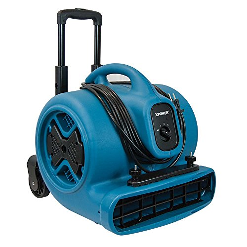 XPOWER P-630HC 1/2 HP 2800 CFM Air Mover Carpet Dryer Fan with Telescopic Handle, Wheels, Clamp (Dual Centrifugal Blower Wall)