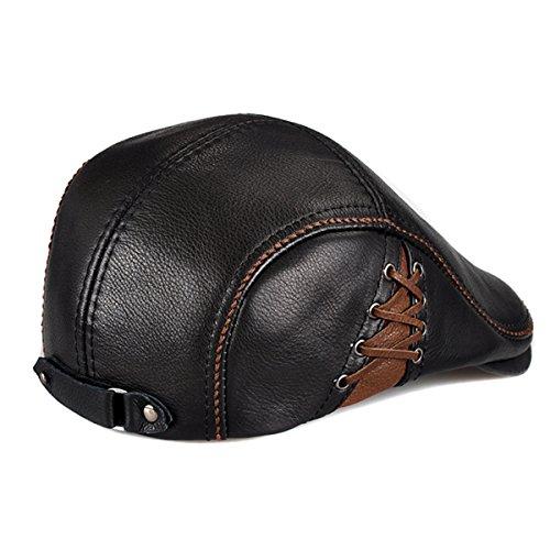 56648c6fd18f2f LETHMIK Unique Flat Cap Hunting Cowhide Leather Driver Ivy Cap Newsboy Hat