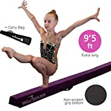 Foldable Gymnastics Beams for Home - 9.5 FT EXTRA LONG High-Density Portable Foam Balance Beam for Toddlers to Teens / Kids Gymnastics Equipment / Lightweight Purple Practice Beam / Floor Beam