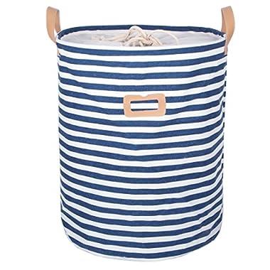 DOKEHOM DKA0811BL 17.7  Drawstring Waterproof Round Cotton Linen Collapsible Storage Basket (Blue Strips, M)
