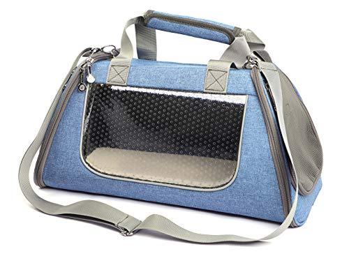 BETOP HOUSE Pets Soft-Sided Collapsible Travel Carrier Tote with Shoulder Strap and Removable Fleece Mat Airline Approved for Small Dogs and Cats (Blue, Small)