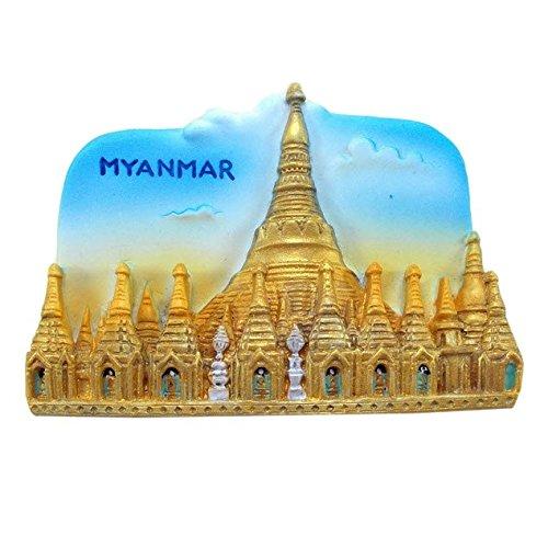 Shwedagon Pagoda MYANMAR Souvenir Fridge Magnet Toy Set 3D Resin Collection ()