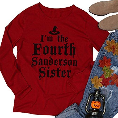 Vin beauty wlgreatsp Halloween Hocus Pocus des Femmes Je Suis le Quatrième Sanderson Soeur Casual O Lettre Neck Printed T-Shirt Top